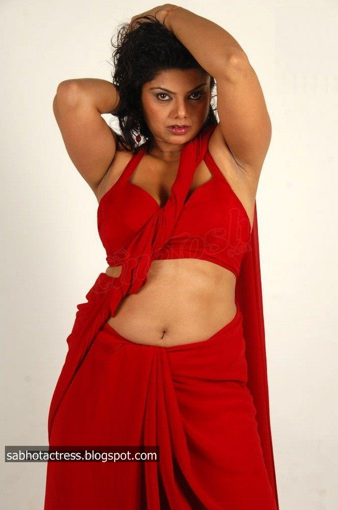 """Swathika Hot Navel,Cleavage and Armpit Show in Red Saree 