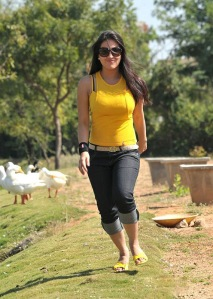 Cute actree Aksha new Yellow dress pics from Ade nuvve cleavage